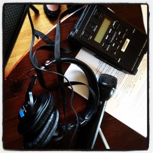 Recording device and mic used to capture the audio components of our story project.